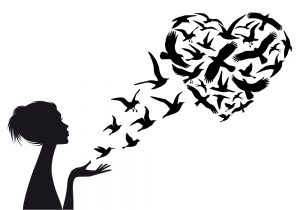 Heart shaped  flying birds with woman silhouette, vector illustration